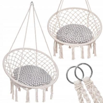 Підвісне крісло-гойдалка (плетене) з подушкою Springos SPR0026 Biege