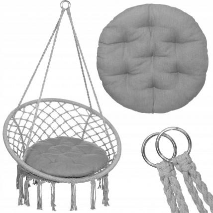 Підвісне крісло-гойдалка (плетене) з подушкою Springos SPR0027 Grey