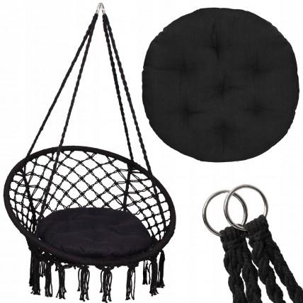 Підвісне крісло-гойдалка (плетене) з подушкою Springos SPR0028 Black