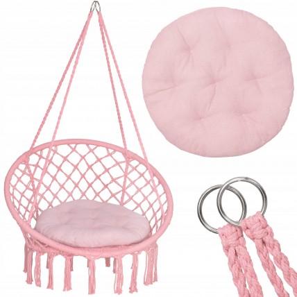 Підвісне крісло-гойдалка (плетене) з подушкою Springos SPR0029 Pink