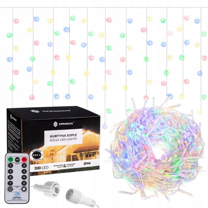 Гирлянда бахрома уличная (наружная) Springos 12 м 300 LED Pilot CL307 Mix