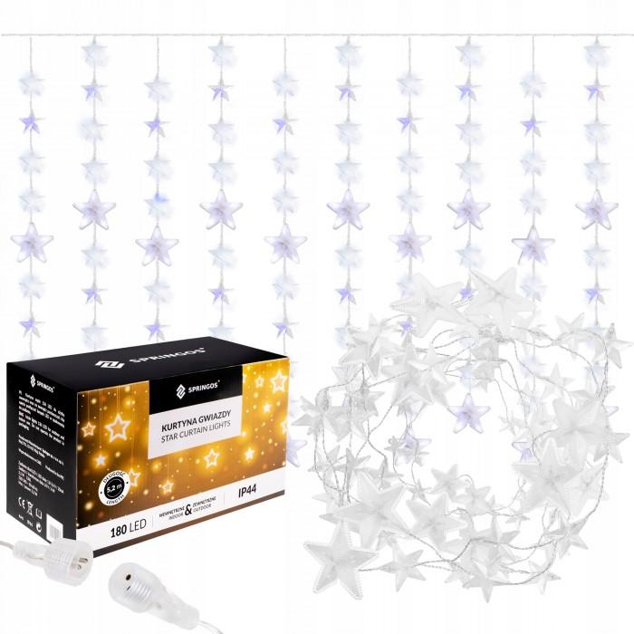 Гирлянда бахрома уличная (наружная) Springos 2 м 180 LED CL4003 Cold White/Blue