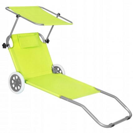 Шезлонг (лежак) для пляжу, тераси та саду з колесами та навісом Springos GC0043