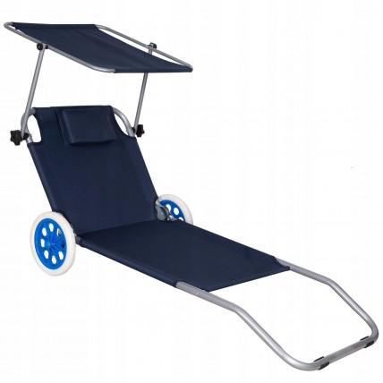 Шезлонг (лежак) для пляжу, тераси та саду з колесами та навісом Springos GC0044