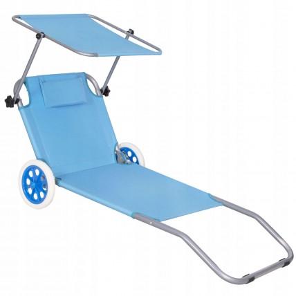 Шезлонг (лежак) для пляжу, тераси та саду з колесами та навісом Springos GC0045