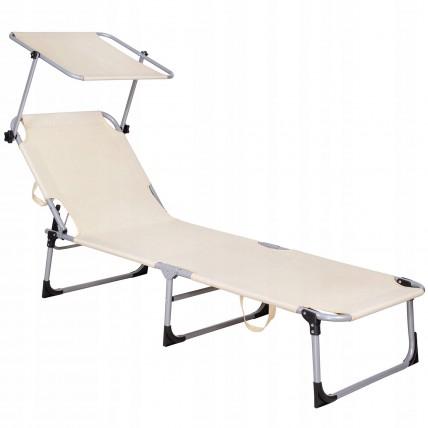 Шезлонг (лежак) для пляжу, тераси та саду з навісом Springos GC0039