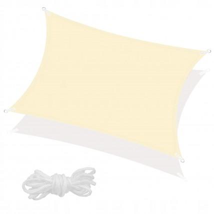 Тент-парус тіньовий для дому, саду та туризму Springos 4 x 3 м SN1032 Light Yellow