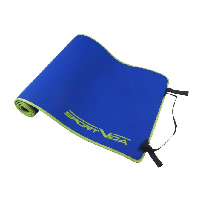 Коврик (мат) для йоги та фітнесу SportVida Neopren 6 мм SV-HK0038 Blue