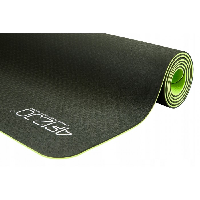 Коврик (мат) для йоги и фитнеса 4FIZJO TPE 6 мм 4FJ0032 Black/Green