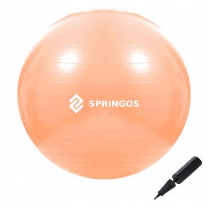 М'яч для фітнесу (фітбол) Springos 55 см Anti-Burst FB0010 Orange