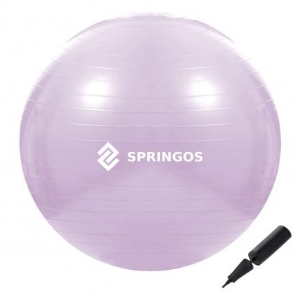 М'яч для фітнесу (фітбол) Springos 65 см Anti-Burst FB0011 Violet