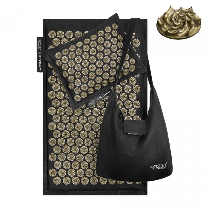 Килимок акупунктурний з подушкою 4FIZJO Eco Mat Аплікатор Кузнєцова 68 x 42 см 4FJ0179 Black/Gold