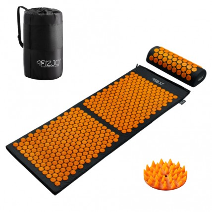 Коврик акупунктурный с валиком 4FIZJO Аппликатор Кузнецова 128 x 48 см 4FJ0049 Black/Orange