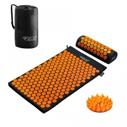 Килимок акупунктурний з валиком 4FIZJO Аплікатор Кузнєцова 72 x 42 см 4FJ0042 Black/Orange