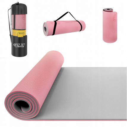 Коврик (мат) для йоги та фітнесу 4FIZJO TPE 1 см 4FJ0200 Pink/Grey