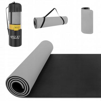 Коврик (мат) для йоги та фітнесу 4FIZJO TPE 1 см 4FJ0203 Grey/Black
