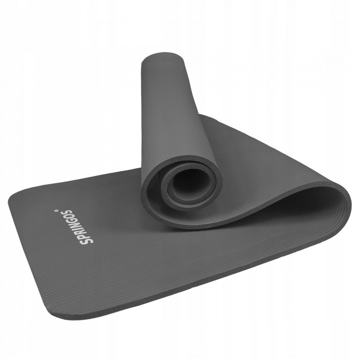 Коврик (мат) для йоги та фітнесу Springos NBR 1.5 см YG0001 Grey