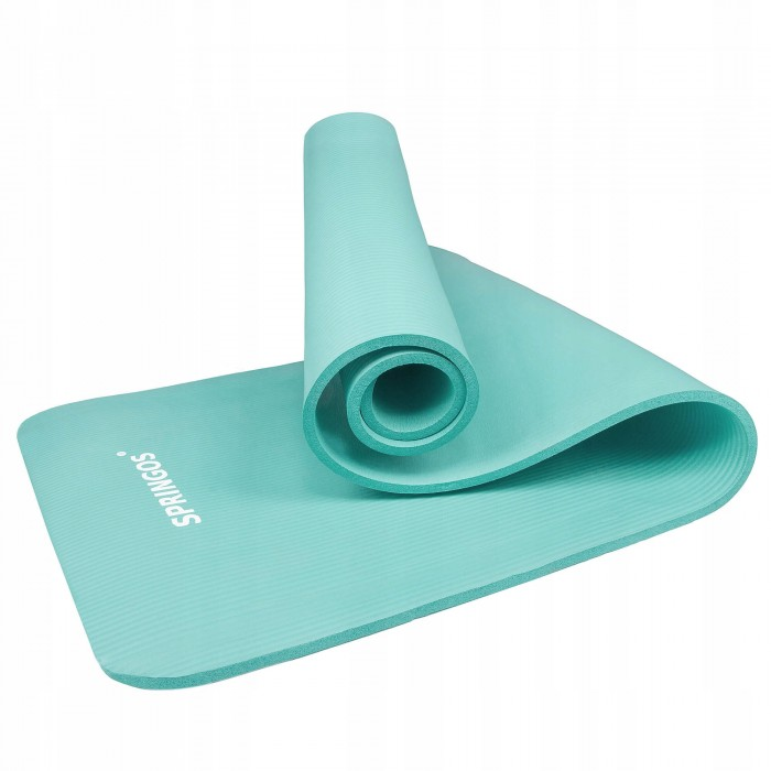 Коврик (мат) для йоги та фітнесу Springos NBR 1 см YG0031 Mint