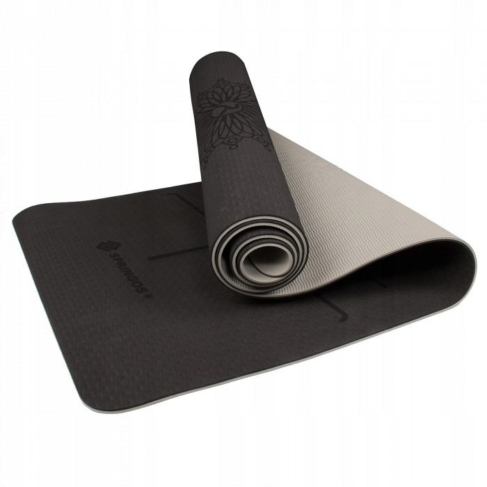 Коврик (мат) для йоги та фітнесу Springos TPE 6 мм YG0013 Black/Grey
