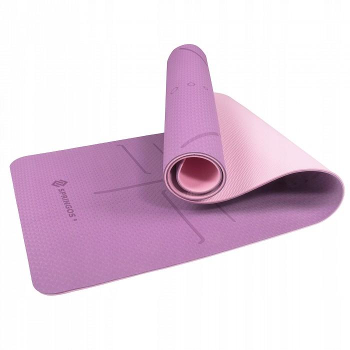 Коврик (мат) для йоги та фітнесу Springos TPE 6 мм YG0015 Purple/Pink
