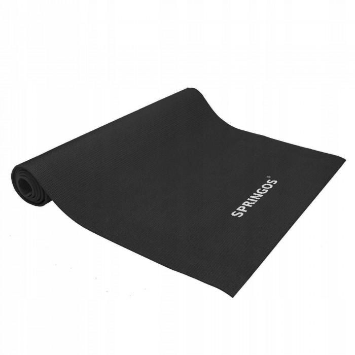Коврик (мат) для йоги та фітнесу Springos PVC 4 мм YG0034 Black