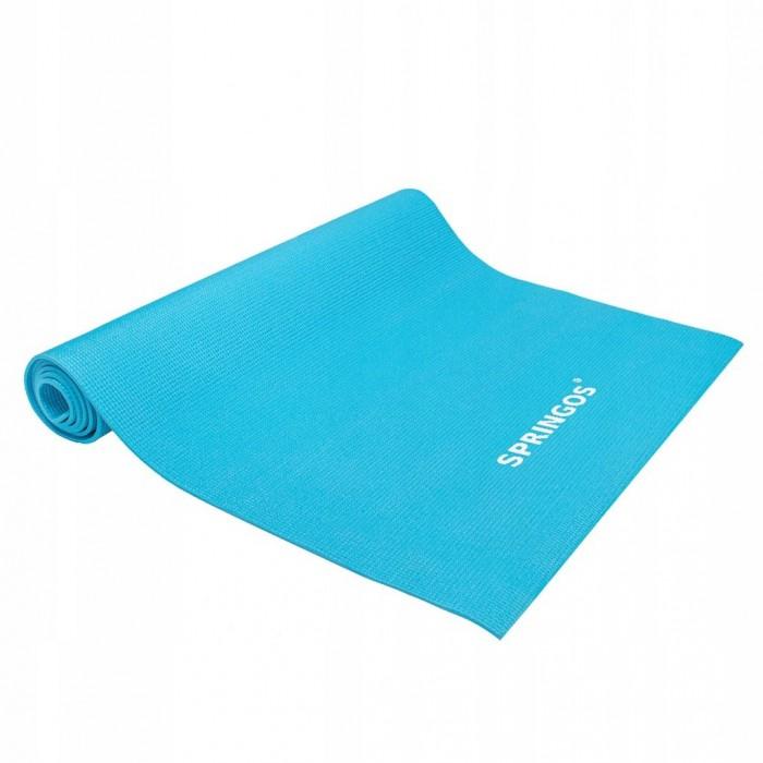 Коврик (мат) для йоги та фітнесу Springos PVC 4 мм YG0035 Sky Blue