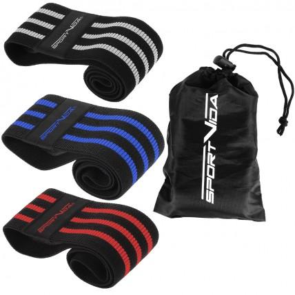 Резинка для фитнеса и спорта тканевая SportVida Hip Band 3 штуки SV-HK0366