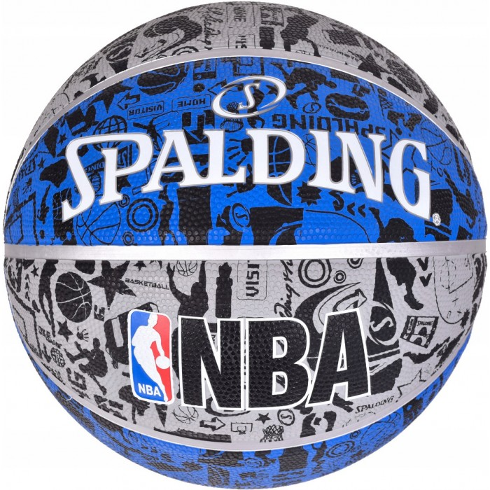 М'яч баскетбольний Spalding NBA Graffiti Outdoor Grey/Blue Size 7