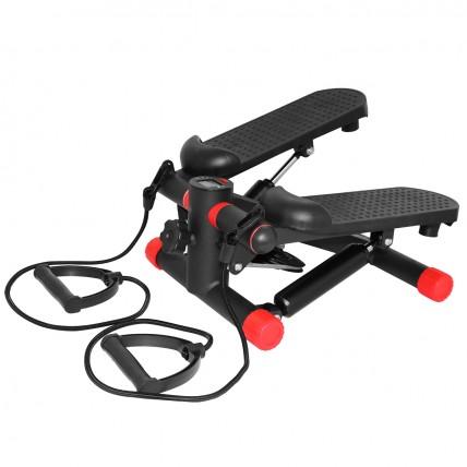 Степпер (мини-степпер) с эспандерами SportVida SV-HK0282 Black/Red