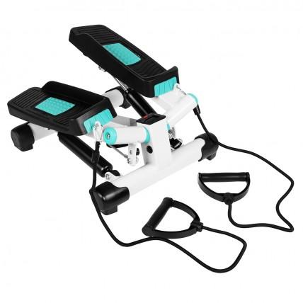 Степпер поворотный (мини-степпер) с эспандерами SportVida SV-HK0361 White/Turquoise